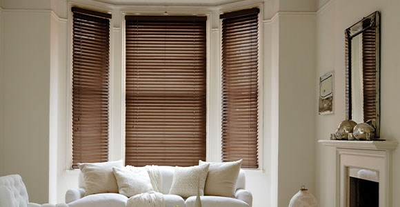 Beautiful Tilt Only Electric Wood Venetian Blinds in a range of natural and painted finishes