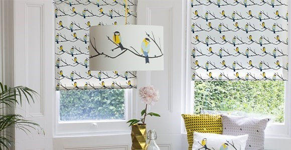 Beautiful nature inspired Lorna Syson print electric blinds, handmade and motorised here in the UK