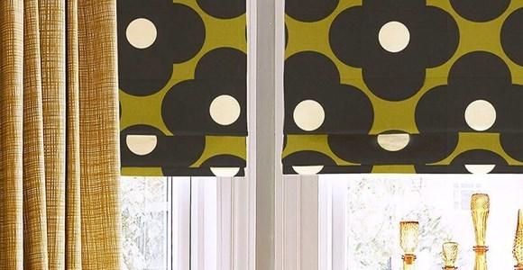 A range of beautiful handmade retro Orla Kiely print roman blinds, made and motorised in the UK