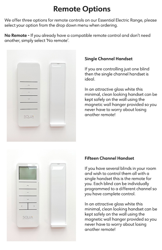 Essential Electric Remote Options