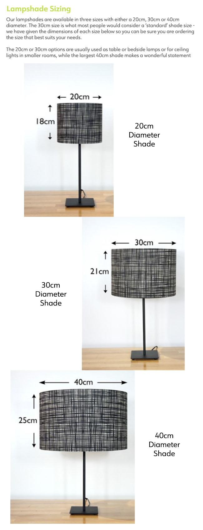 Lampshade Sizes