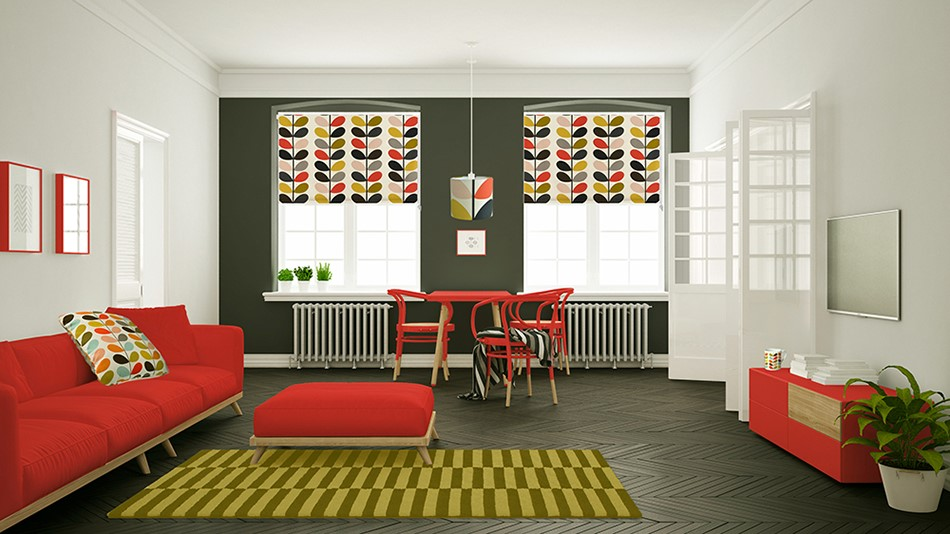Orla Kiely Multi Stem Tomato Roller Blinds