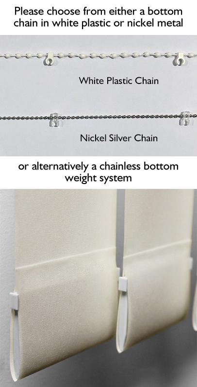 Bottom finish options for vertical blinds