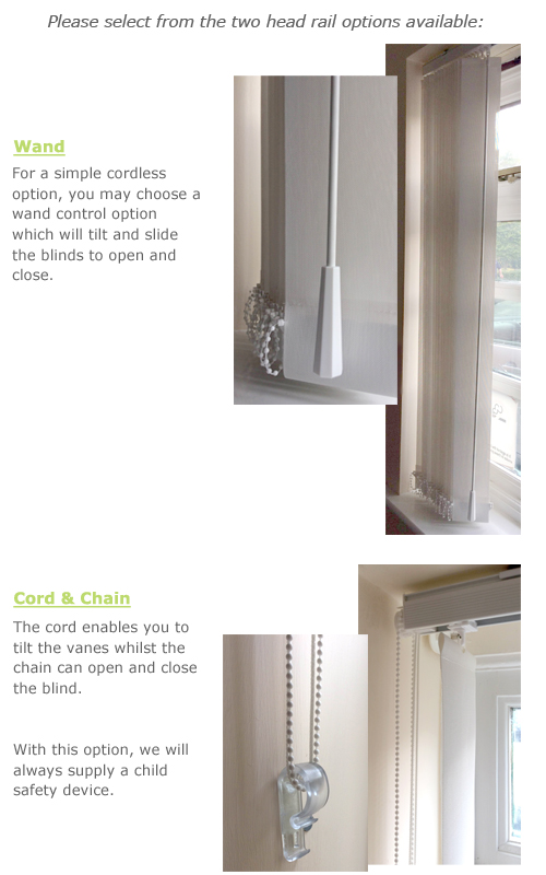 Head rail options for vertical blinds