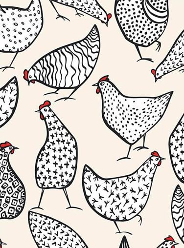 Chickens Cream Roller Blind