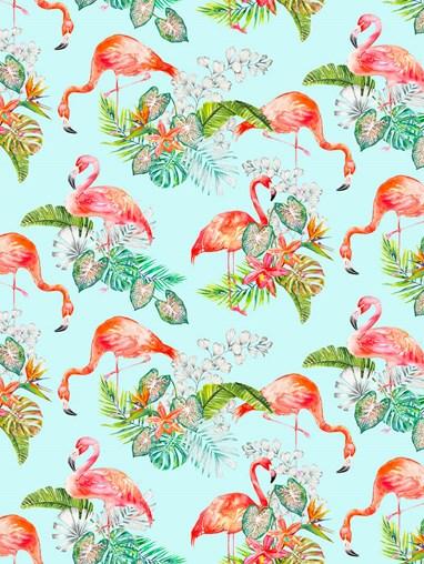 Flamingo Tropics Sky Patterned Blackout Electric Roller Blind