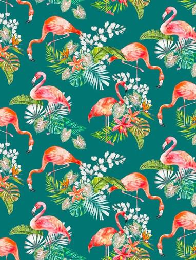 Flamingo Tropics Teal Patterned Blackout Electric Roller Blind