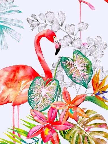 Flamingo Tropics Bright Blackout Electric Roller Blind