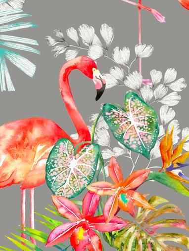 Flamingo Tropics Charcoal Blackout Electric Roller Blind