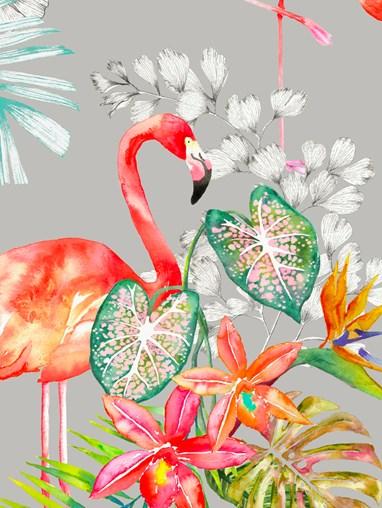 Flamingo Tropics Stone Daylight Electric Roller Blind