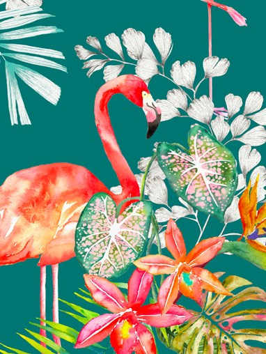 Flamingo Tropics Teal Patterned Daylight Electric Roller Blind