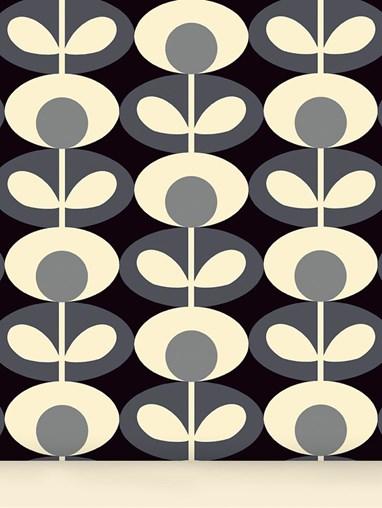 Orla Kiely Oval Flower Cool Grey Roller Blind