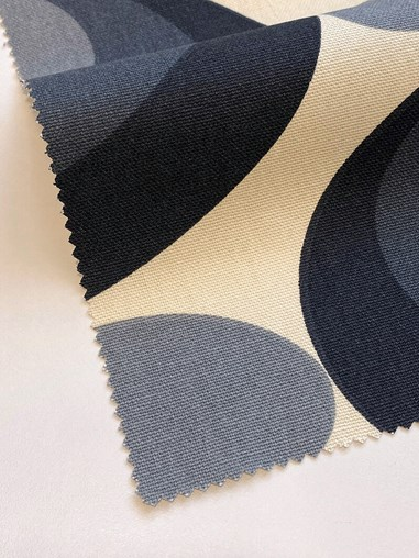 Orla Kiely Seventies Flower Oval Cool Grey Soft Fabric Roller Blind