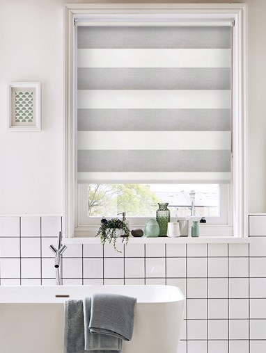 Portsmouth Stripe Grey Dim Out Roller Blind