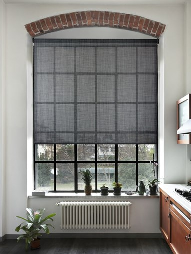 Sunscreen Charcoal Weave 3 Percent Electric Roller Blind