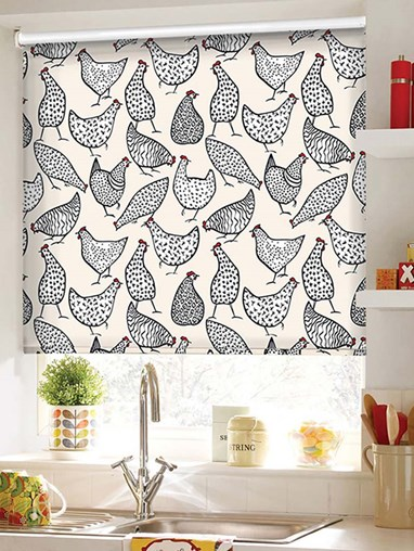Chickens Cream Patterned Daylight Electric Roller Blind