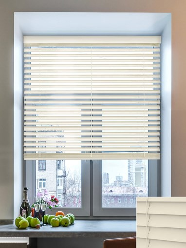 Clotted Cream 50mm Wooden Electric Venetian Blind