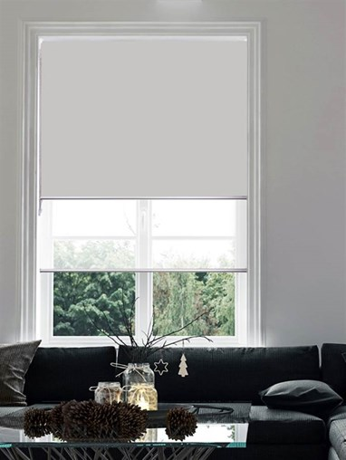 Grey and White Double Roller Blind
