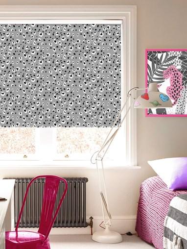 Leopard Print Slate Blackout Electric Roller Blind