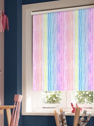 Rainbow Stripe Blackout Electric Roller Blind