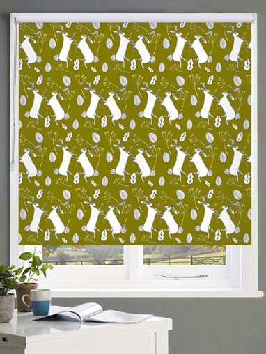 Boxing Hares on Moss Roller Blind by Amanda Redwin