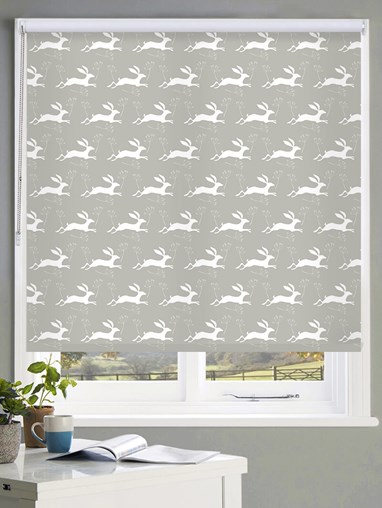 Leaping Hare on Flint Roller Blind by Amanda Redwin