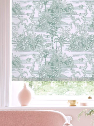 Tropical Toile Mist Roller Blind by Boon & Blake