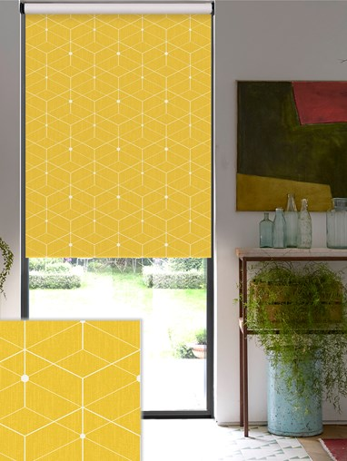 Illusion Yellow Blackout Electric Roller Blind