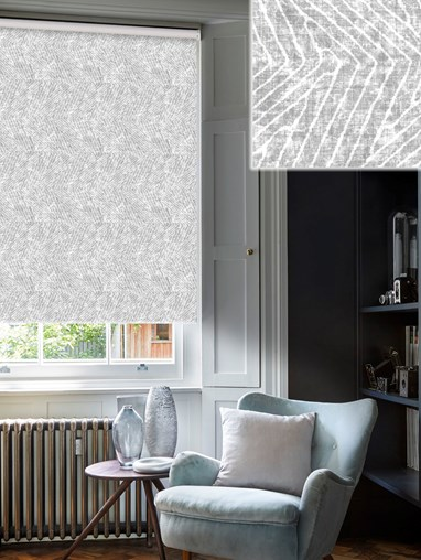 Linear Luxe Stone Blackout Electric Roller Blind