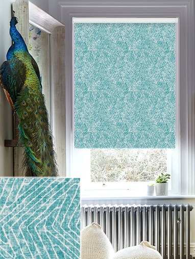 Linear Luxe Teal Blackout Electric Roller Blind