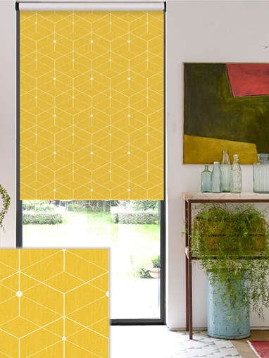 Illusion Yellow Daylight Electric Roller Blind