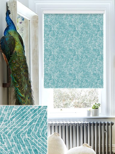 Linear Luxe Teal Daylight Electric Roller Blind