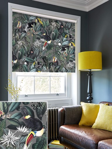 NeoTropical Slate Daylight Electric Roller Blind