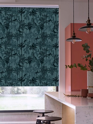 Amazon Teal Patterned Blackout Electric Roller Blind by Boon & Blake