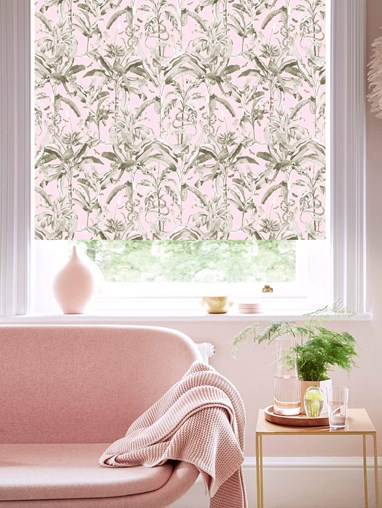 Ecuador Blush Patterned Blackout Electric Roller Blind by Boon & Blake