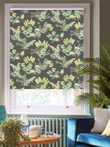 Honduras Charcoal Patterned Blackout Electric Roller Blind by Boon & Blake