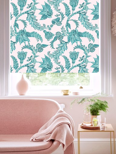 Java Blush Patterned Blackout Electric Roller Blind by Boon & Blake
