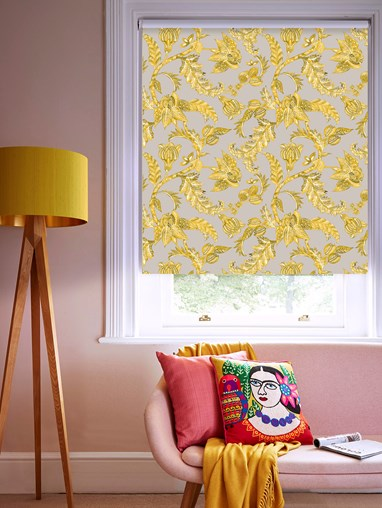 Java Mustard Patterned Blackout Electric Roller Blind by Boon & Blake