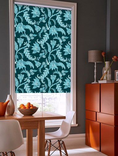 Java Teal Patterned Blackout Electric Roller Blind by Boon & Blake