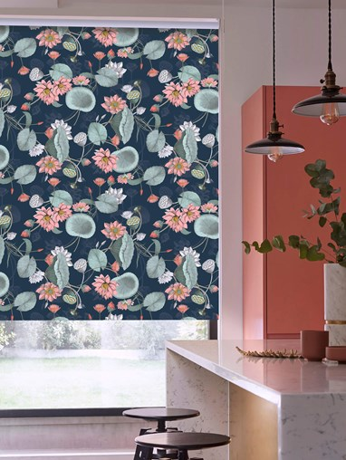 Sacred Lotus Marine Patterned Blackout Electric Roller Blind by Boon & Blake