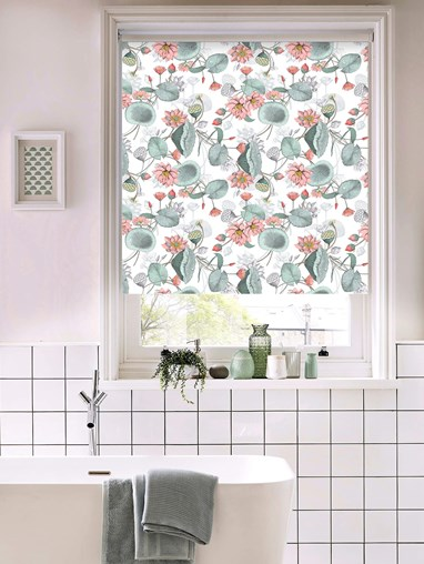 Sacred Lotus Natural Patterned Blackout Electric Roller Blind by Boon & Blake