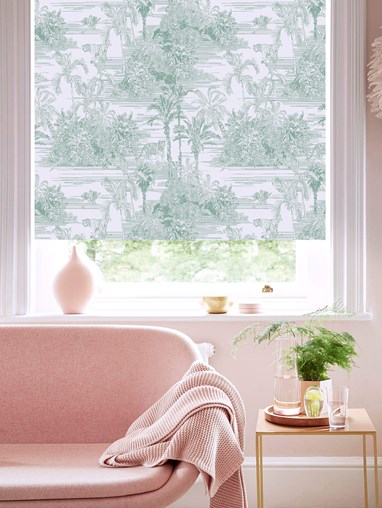 Tropical Toile Mist Patterned Blackout Electric Roller Blind by Boon & Blake