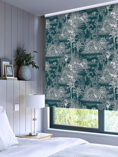 Tropical Toile Teal Patterned Blackout Electric Roller Blind by Boon & Blake