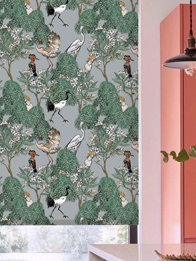 Oleander Mist Patterned Daylight Electric Roller Blind by Boon & Blake