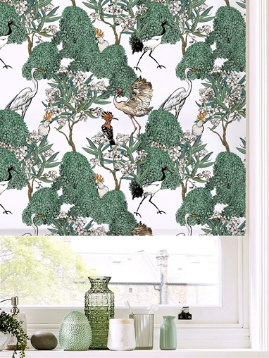 Oleander Natural Patterned Daylight Electric Roller Blind by Boon & Blake