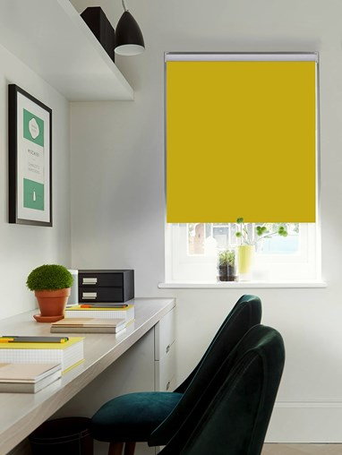 Mustard Blackout Electric Roller Blind by Boon & Blake