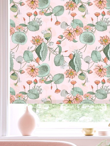 Sacred Lotus Blush Patterned Daylight Electric Roller Blind by Boon & Blake