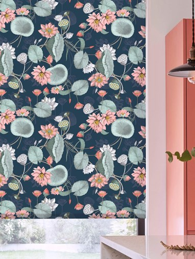 Sacred Lotus Marine Daylight Electric Roller Blind by Boon & Blake