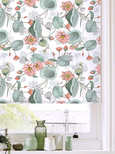 Sacred Lotus Natural Patterned Daylight Electric Roller Blind by Boon & Blake