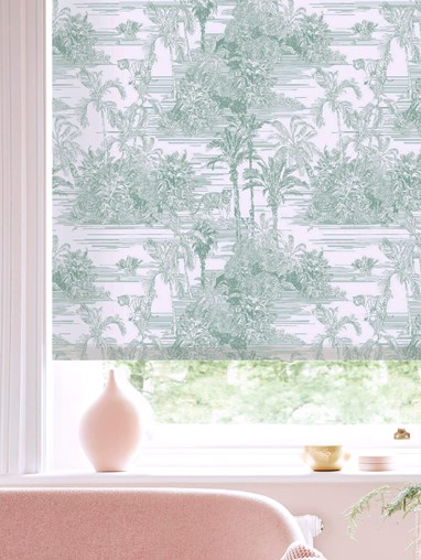 Tropical Toile Mist Daylight Electric Roller Blind by Boon & Blake